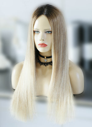 "22"" Long Straight Blonde Brown With Brown Roots Lace Front Remy Natural Hair Wig HG032"