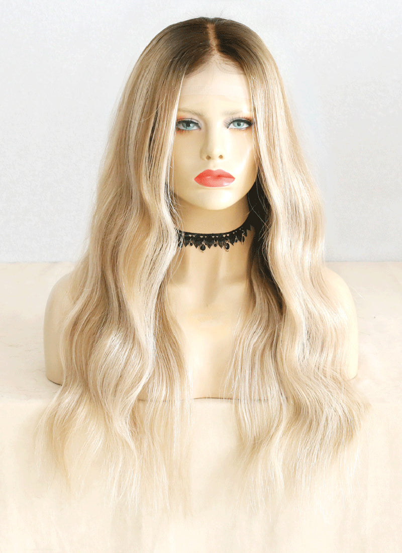 "22"" Long Wavy Blonde Brown With Brown Roots Lace Front Virgin Natural Hair Wig HG033"