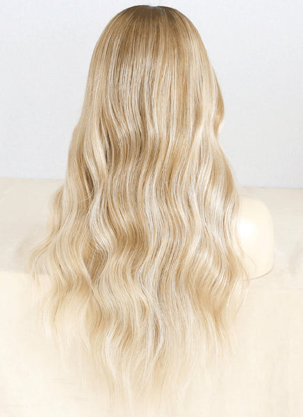 "22"" Long Wavy Blonde Brown With Brown Roots Lace Front Virgin Natural Hair Wig HG033 - wifhair"
