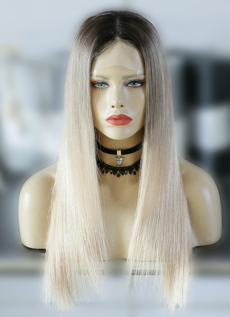 "22"" Long Straight Blonde With Brown Roots Lace Front Virgin Natural Hair Wig HG034"