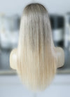 "22"" Long Straight Blonde With Brown Roots Lace Front Virgin Natural Hair Wig HG034 - wifhair"
