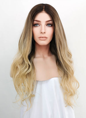 "22"" Long Wavy Blonde Brown With Brown Roots Lace Front Virgin Natural Hair Wig HG035 - wifhair"