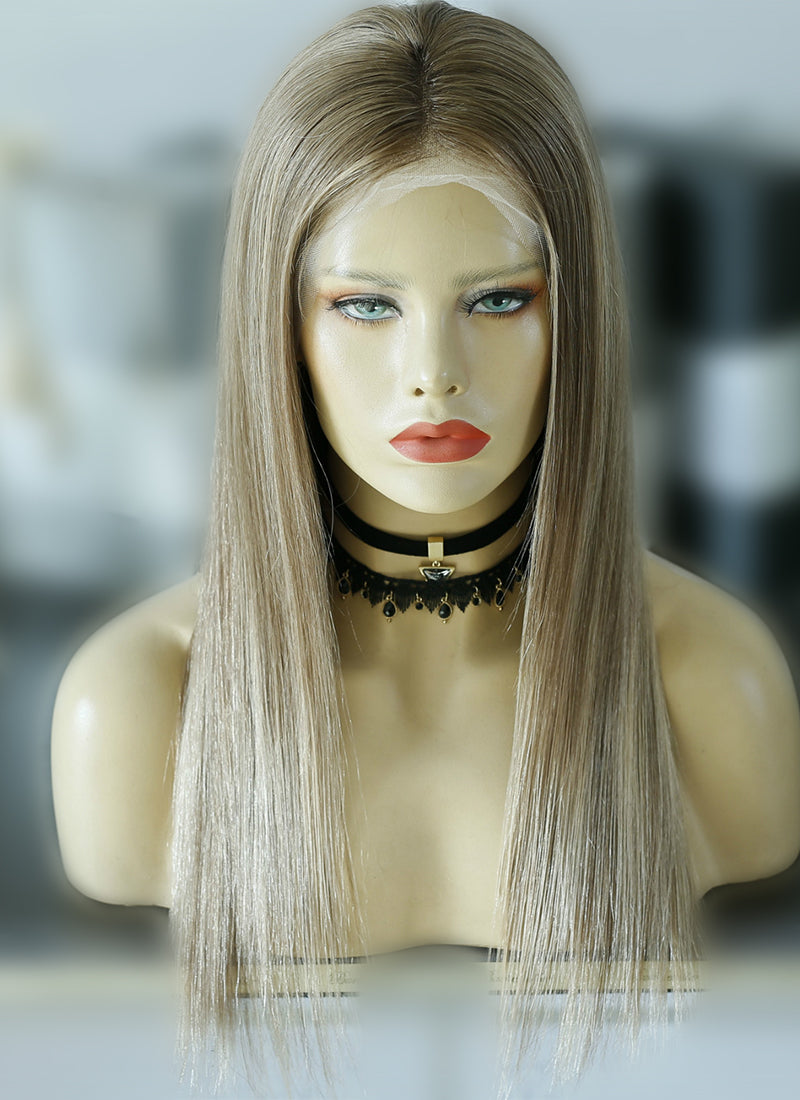 "18"" Long Straight Blonde Mixed Brown Lace Front Virgin Natural Hair Wig HG037 - wifhair"