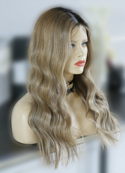 "22"" Long Wavy Blonde Brown With Brown Roots Lace Front Virgin Natural Hair Wig HG039"