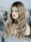 "22"" Long Wavy Blonde Brown With Brown Roots Lace Front Virgin Natural Hair Wig HG039 - wifhair"