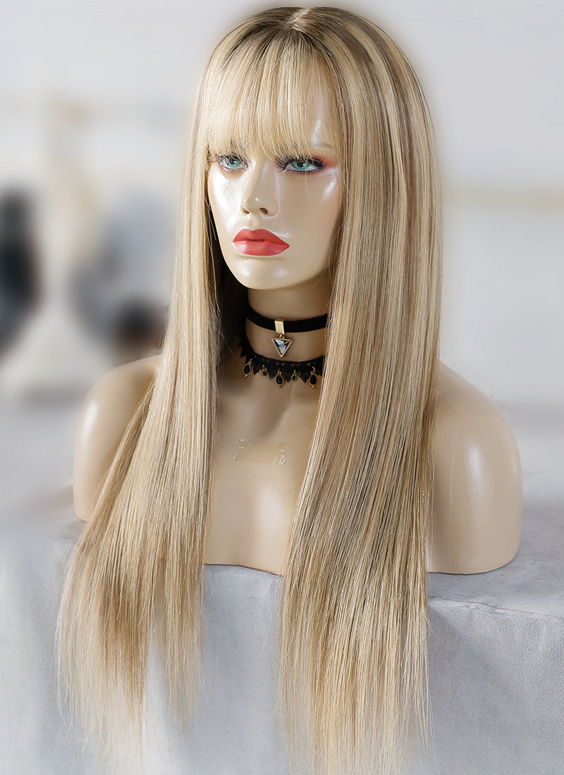 "20"" Long Straight Blonde Mixed Brown Lace Front Virgin Natural Hair Wig HG042 - wifhair"
