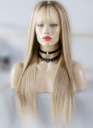 "20"" Long Straight Blonde Mixed Brown Lace Front Virgin Natural Hair Wig HG042"