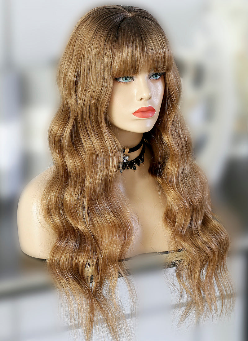 "22"" Long Wavy Mixed Blonde Lace Front Virgin Natural Hair Wig HG043"