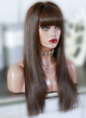 "20"" Long Straight Mixed Brown Lace Front Remy Natural Hair Wig HG046"