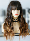 "20"" Long Wavy Natural Black Mixed Brown Lace Front Remy Natural Hair Wig HG047 - wifhair"