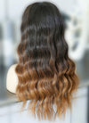 "20"" Long Wavy Natural Black Mixed Brown Lace Front Remy Natural Hair Wig HG047"