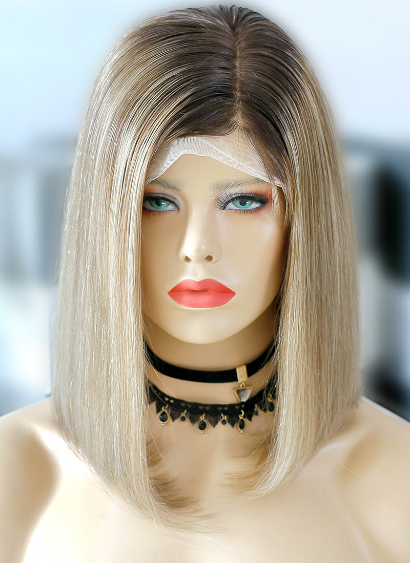 "16"" Medium Straight Blonde Mixed Brown Lace Front Virgin Natural Hair Wig HG048 - wifhair"