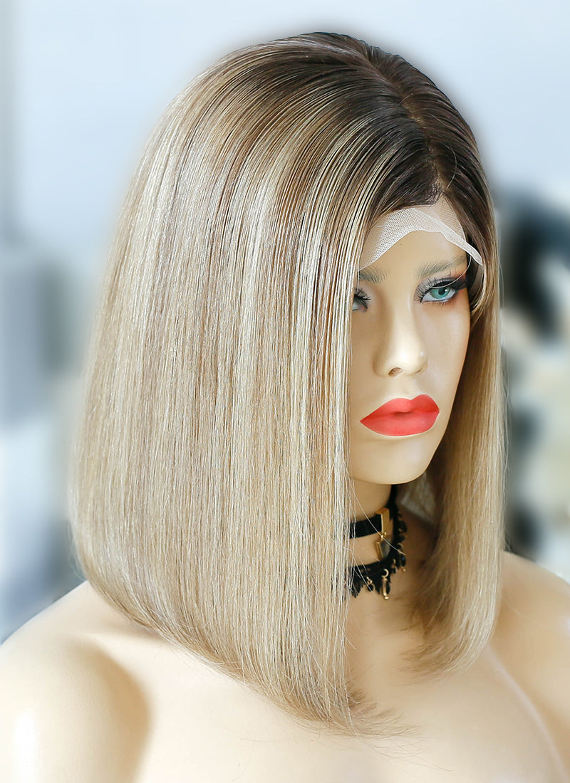 "16"" Medium Straight Bob Blonde Mixed Brown Lace Front Virgin Natural Hair Wig HG048 - wifhair"
