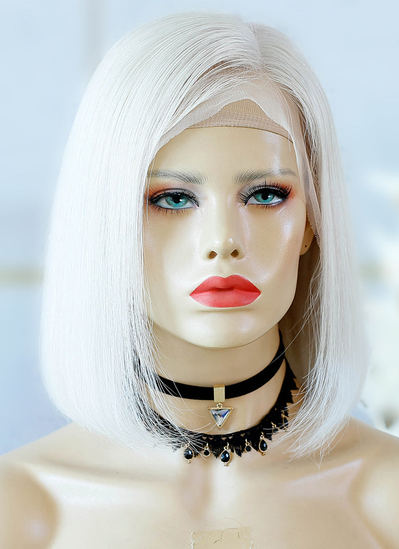 "12"" Medium Straight Bob Grey Lace Front Virgin Natural Hair Wig HG049"