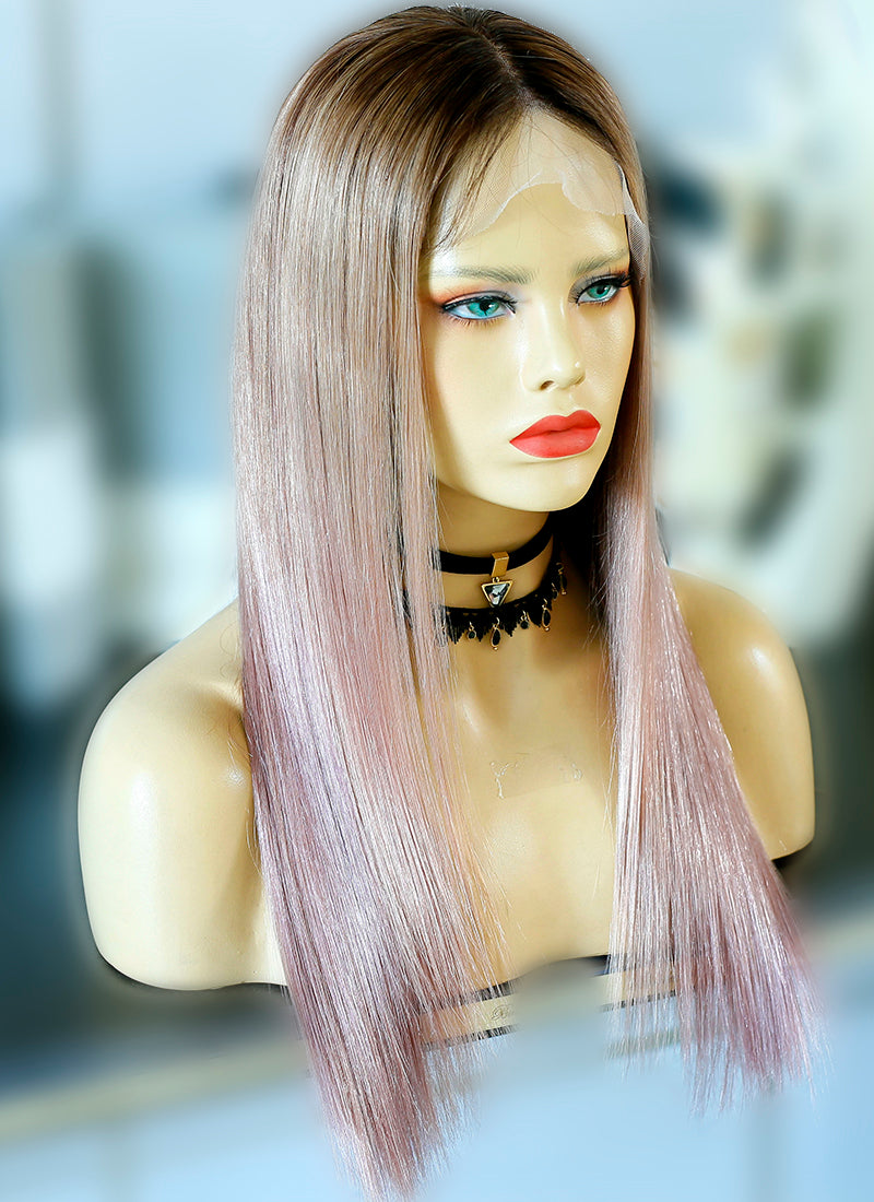 "20"" Long Straight Pink Mixed Brown Lace Front Virgin Natural Hair Wig HG050"