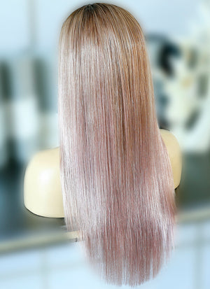 "20"" Long Straight Pink Mixed Brown Lace Front Virgin Natural Hair Wig HG050 - wifhair"