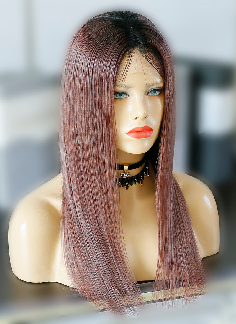 "20"" Long Straight Dark Pink With Black Roots Lace Front Virgin Natural Hair Wig HG051"