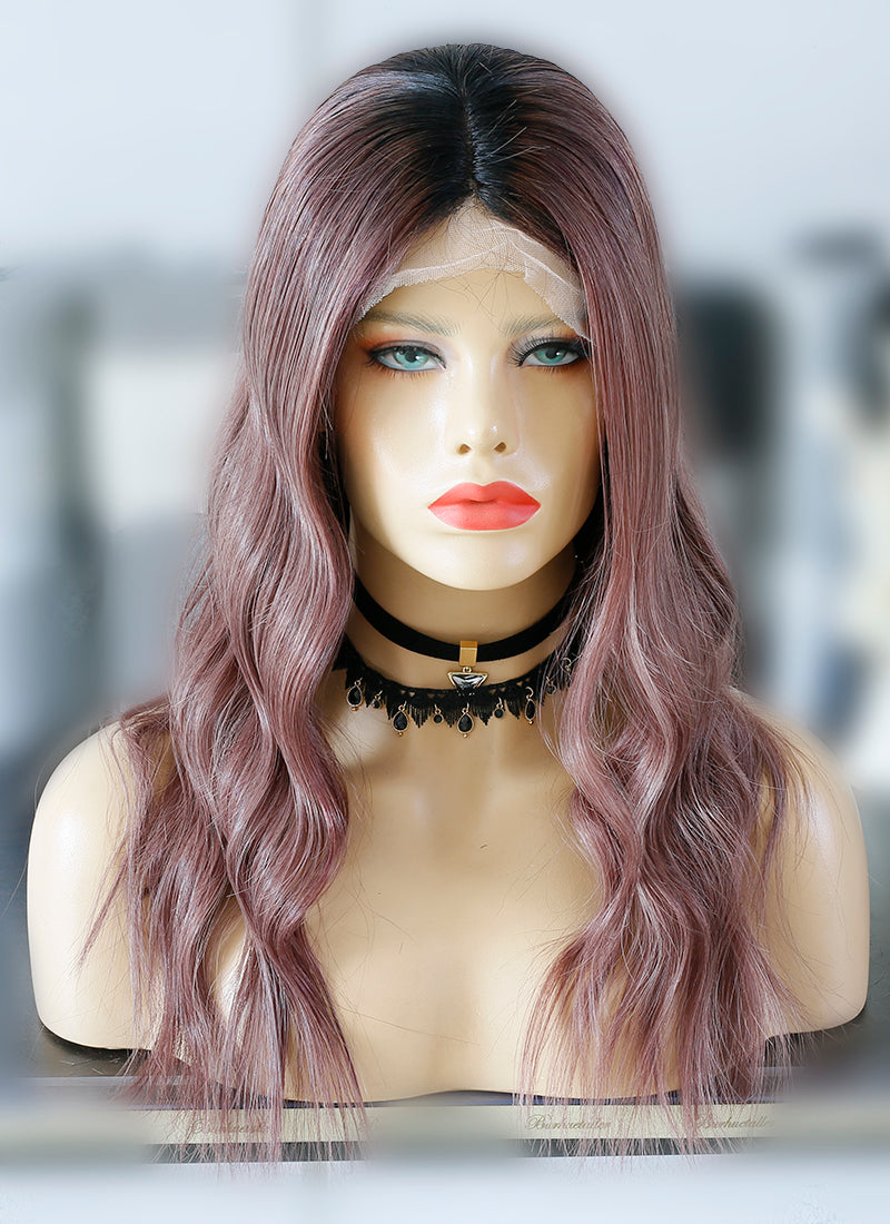 "20"" Long Ash Rose Pink With Dark Roots Wavy Lace Front Virgin Natural Hair Wig HG052"