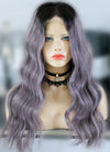 "22"" Long Ash Purple With Dark Roots Wavy Lace Front Virgin Natural Hair Wig HG053 - wifhair"