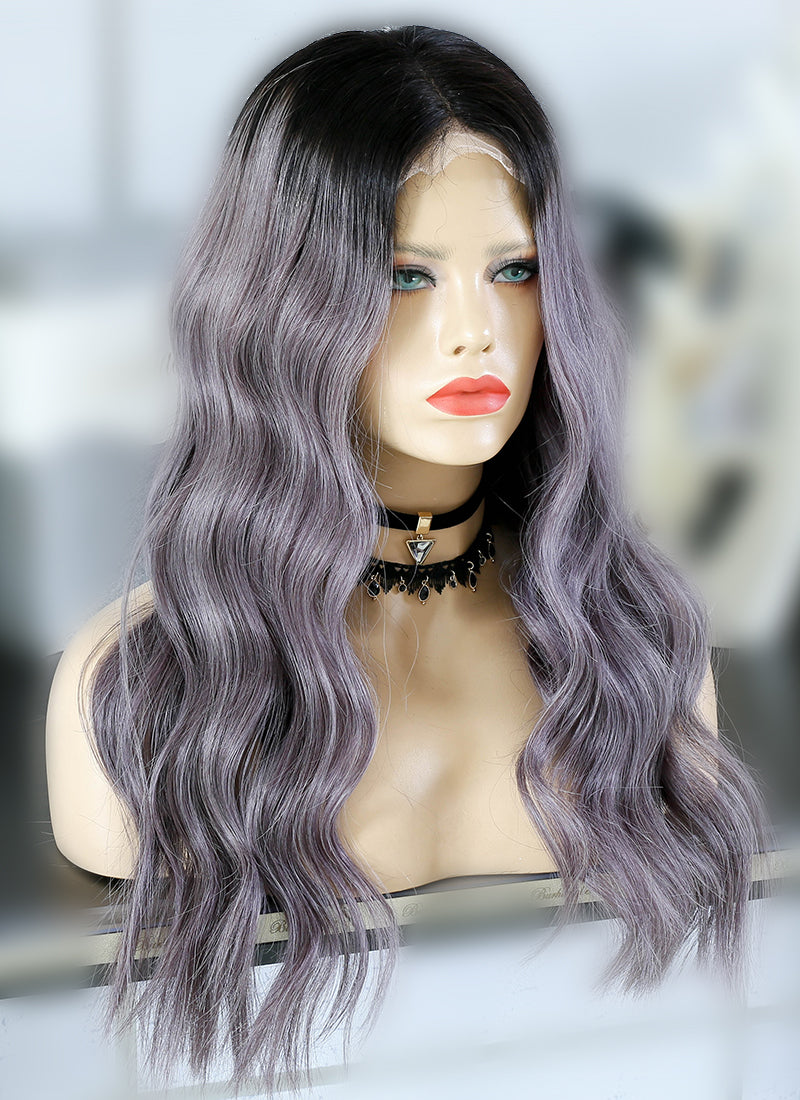 "22"" Long Ash Purple With Dark Roots Wavy Lace Front Virgin Natural Hair Wig HG053"