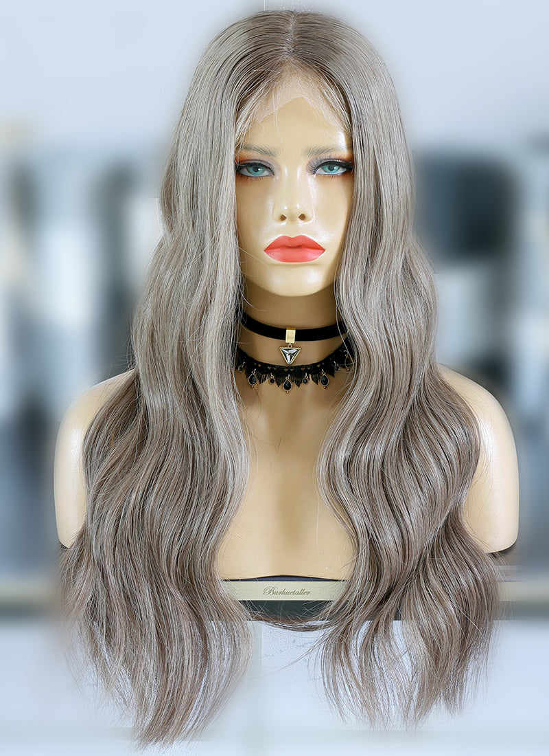 "24"" Long Ash Dark Blonde Wavy Lace Front Virgin Natural Hair Wig HG054"