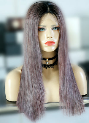 "20"" Long Ash Purple With Dark Roots Straight Lace Front Virgin Natural Hair Wig HG056"