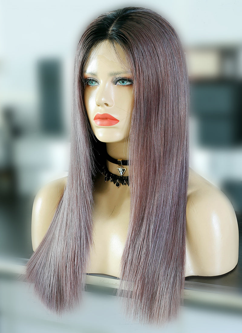 "20"" Long Ash Purple With Dark Roots Straight Lace Front Virgin Natural Hair Wig HG056 - wifhair"