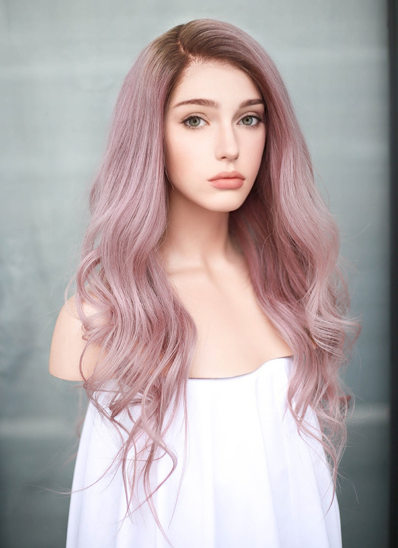 "20"" Long Pastel Pink With Brown Roots Wavy Lace Front Virgin Natural Hair Wig HG057 - wifhair"