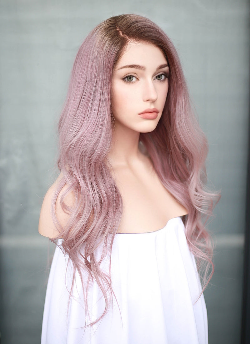 "20"" Long Pastel Pink With Brown Roots Wavy Lace Front Virgin Natural Hair Wig HG057"