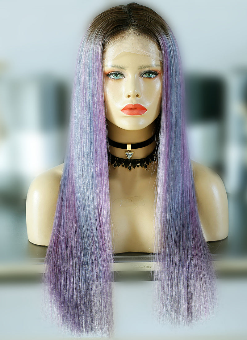 "22"" Long Pastel Purple Mixed Light Blue With Brown Roots Straight Lace Front Virgin Natural Hair Wig HG058"