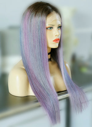 "22"" Long Pastel Purple Mixed Light Blue With Brown Roots Straight Lace Front Virgin Natural Hair Wig HG058 - wifhair"