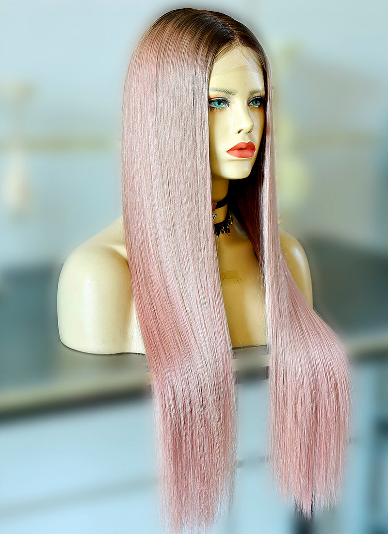 "24"" Long Light Pink With Brown Roots Straight Lace Front Virgin Natural Hair Wig HG059"
