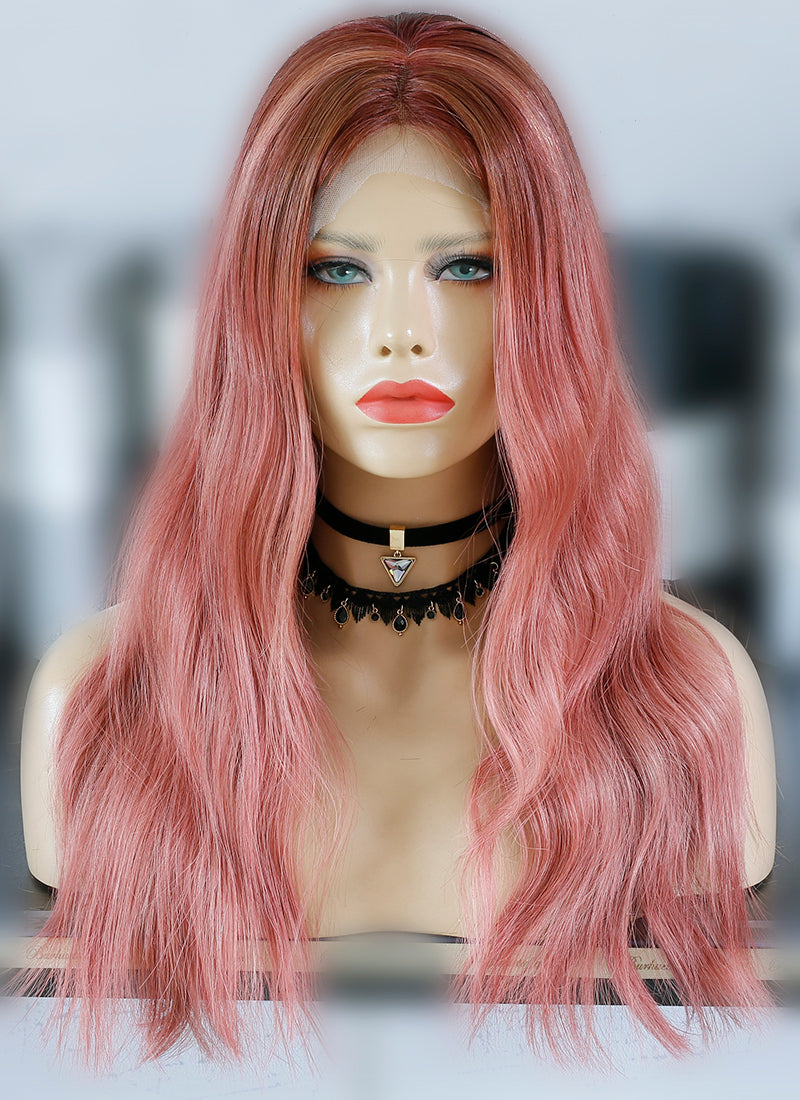 "20"" Long Rose Pink With Brown Roots Wavy Lace Front Virgin Natural Hair Wig HG061 - wifhair"