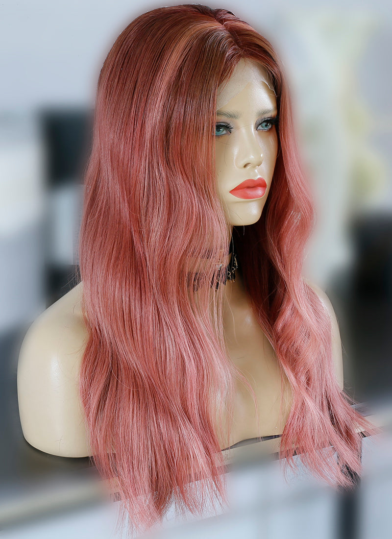 "20"" Long Rose Pink With Brown Roots Wavy Lace Front Virgin Natural Hair Wig HG061"