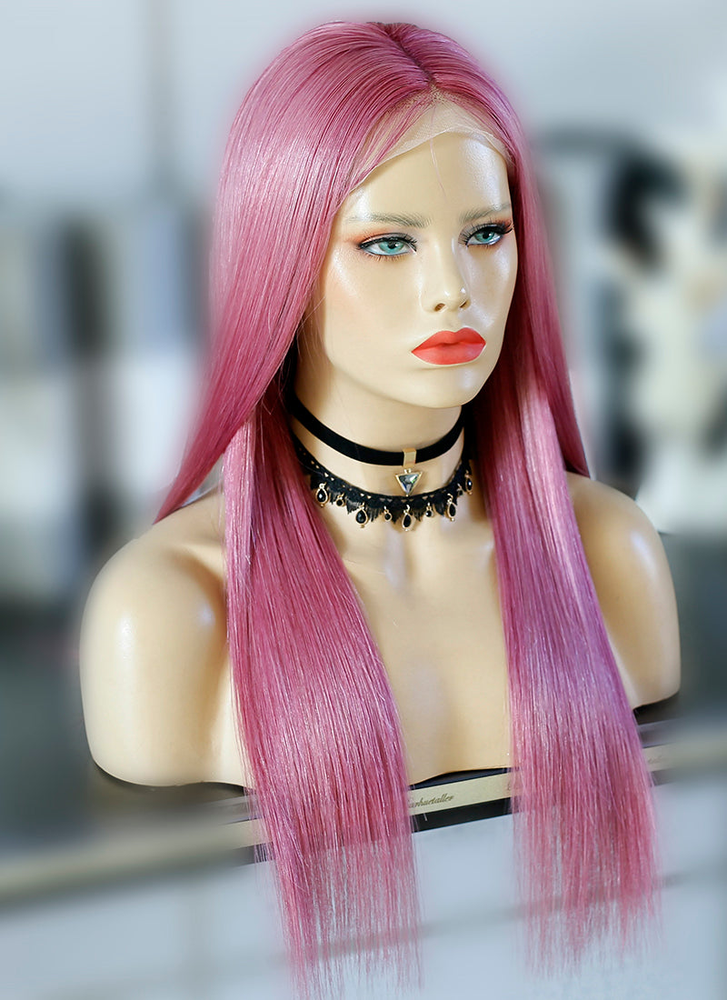 "20"" Long Pastel Pink Straight Lace Front Virgin Natural Hair Wig HG064"