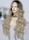 "26"" Long Two Tone Blonde Ombre Wavy Lace Front Virgin Natural Hair Wig HG066 - wifhair"