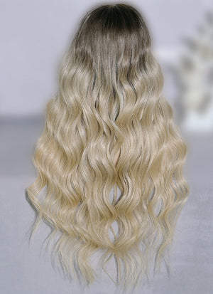 "26"" Long Two Tone Blonde Ombre Wavy Lace Front Virgin Natural Hair Wig HG066"