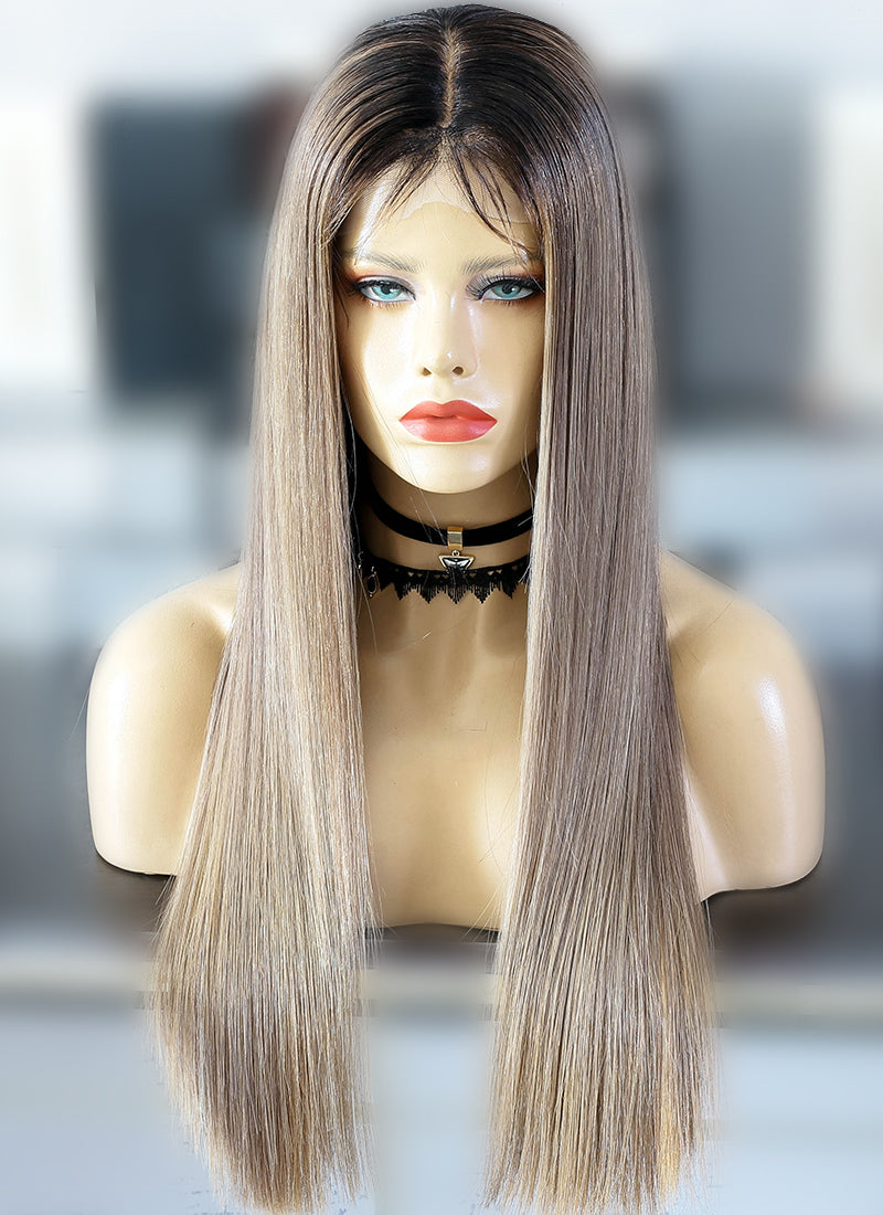"22"" Long Ash Brown With Black Roots Straight Lace Front Virgin Natural Hair Wig HG069 - wifhair"