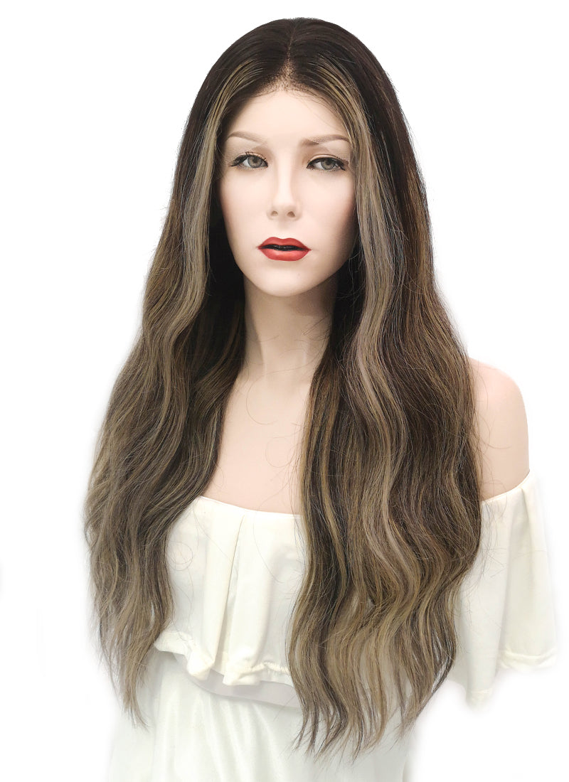 "20"" Long Wavy Blonde Mixed Brown Lace Front Virgin Natural Hair Wig HG001"
