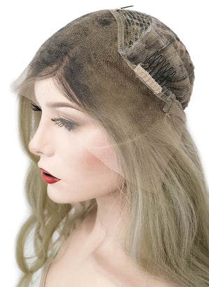 "22"" Long Wavy Mixed Blonde With Dark Roots Lace Front Virgin Natural Hair Wig HG008 - wifhair"