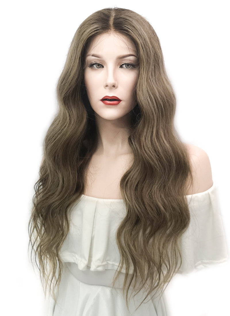 "24"" Long Wavy Blonde Mixed Brown Lace Front Virgin Natural Hair Wig HG012 - wifhair"