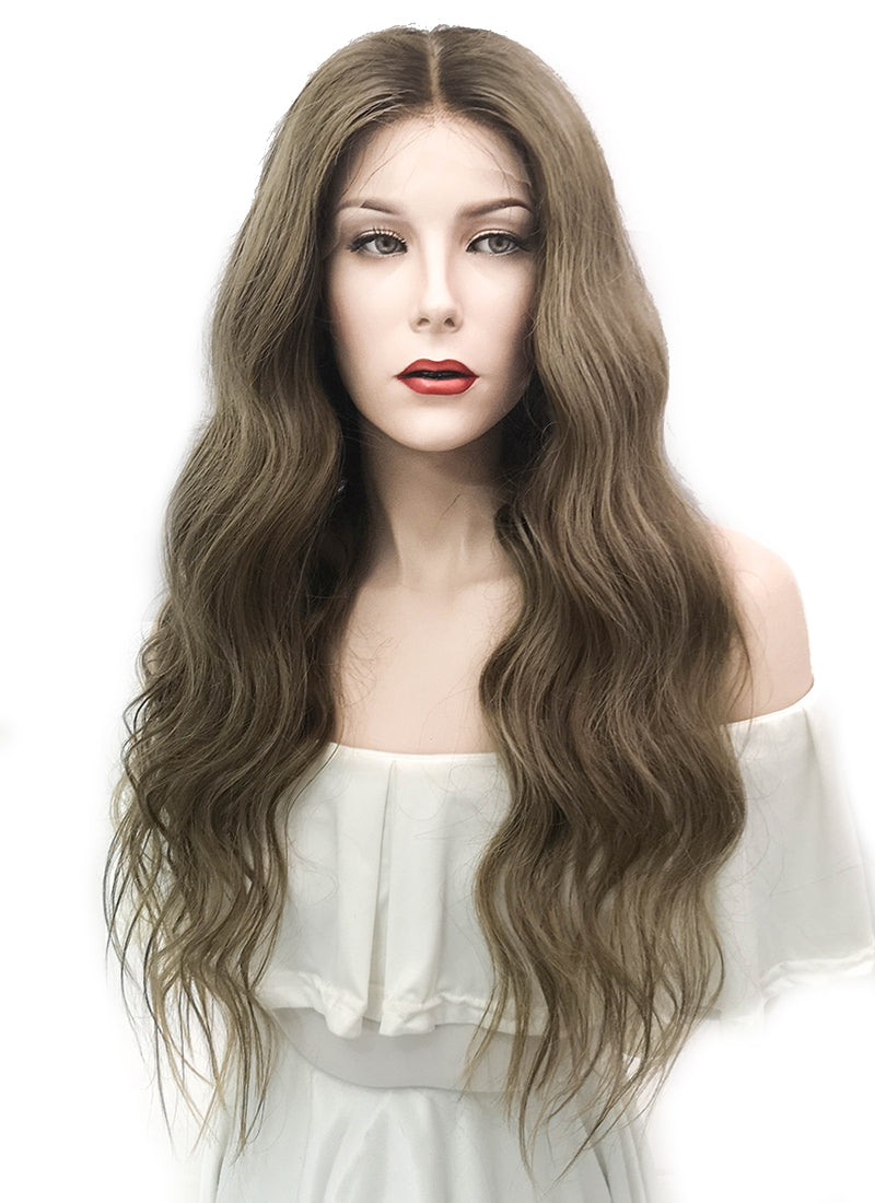 "24"" Long Wavy Blonde Mixed Brown Lace Front Virgin Natural Hair Wig HG012"