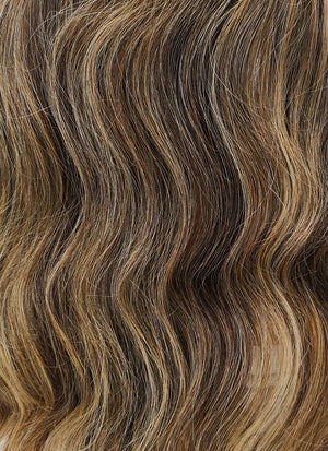"24"" Long Wavy Blonde Brown With Brown Roots Lace Front Remy Natural Hair Wig HG018"