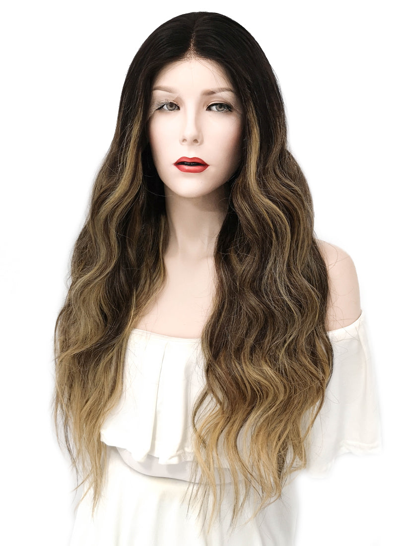 "24"" Long Wavy Blonde Brown With Brown Roots Lace Front Remy Natural Hair Wig HG018 - wifhair"