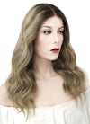 "16"" Long Wavy Mixed Blonde With Brown Roots Lace Front Virgin Natural Hair Wig HG019 - wifhair"