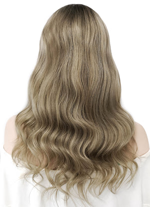 "16"" Long Wavy Mixed Blonde With Brown Roots Lace Front Virgin Natural Hair Wig HG019"