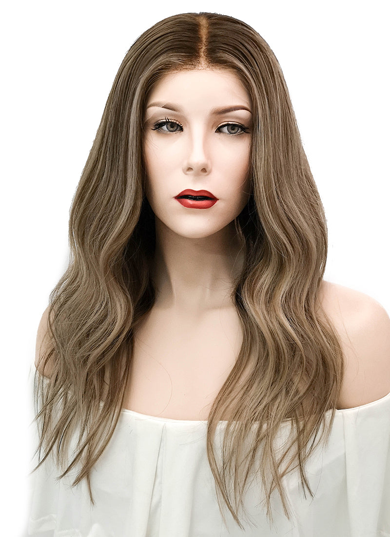 "18"" Long Wavy Blonde Mixed Brown Lace Front Virgin Natural Hair Wig HG038"
