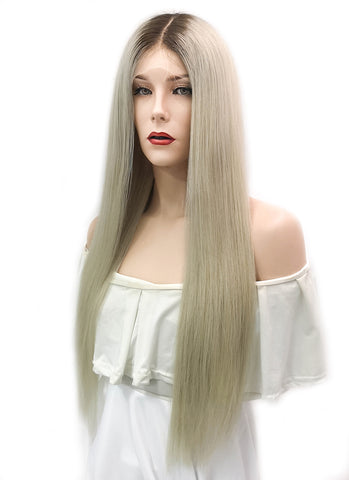 "12"" Short Straight Ash Blonde Lace Front Brazilian Natural Hair Wig HH151"