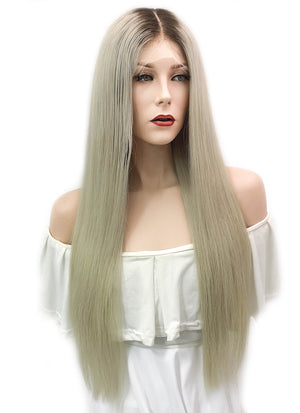 "26"" Long Straight Ash Blonde With Dark Roots Lace Front Virgin Natural Hair Wig HG041"