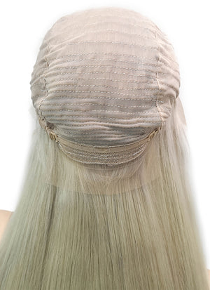 "26"" Long Straight Ash Blonde With Dark Roots Lace Front Virgin Natural Hair Wig HG041 - wifhair"